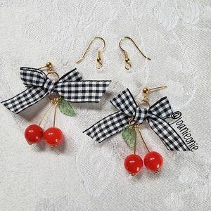 Jewelry - Cherry & Gingham Bow Fruit Dangle Earrings